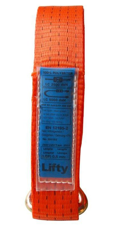 Beschermen van sjorbandlabels Label in PVC-hoes vastgenaaid